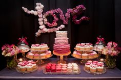 Ombre Engagement Dessert Table by Leo & Bella