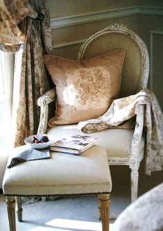 interior, reading corners, french bedrooms, french country decorating, french country style, reading chairs, french country design, country bedrooms, bedroom designs