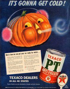 Vintage Halloween Ad ~ Jack O' Lantern Texaco Anti-Freeze ©1951