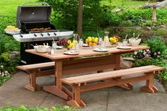 Build a handsome trestle-and-slat design picnic table and benches with our easy-to-follow instructions, diagrams and video. | Photo: Kolin Smith | thisoldhouse.com