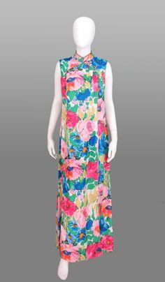 Victoria Royale floral cheongsam 1970s