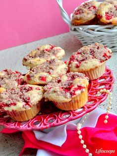 Strawberry Muffins with Cream Cheese Filling and Streusel Topping - Ingredients:  For Cream Cheese Filling      5 ounces – Cream cheese     1/3 cup – Sugar     1/2 – Egg (about 2 Tbsp. beaten)     1/4 Tsp – Vanilla extract  For Streusel Topping      1/4 cup – All purpose flour     1/4 cup – Sugar     1/2 Tsp – Ground cinnamon     3 Tbsp – Firm unsalted butter #cupcakes #cupcakeideas #cupcakerecipes #food #yummy #sweet #delicious #cupcake