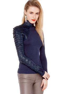 Gracia Scale Top   Navy Top   Shirts and Blouses