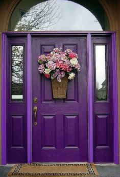 Cool purple front door • photo: Home Edit