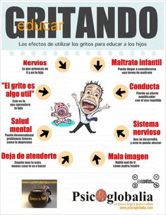 Hoy una infografía que hemos elaborado sobre los efectos perjudiciales de educar usando los gritos como recurso. No os la perdáis! http://www.cometelasopa.com/los-efectos-de-educar-gritando/