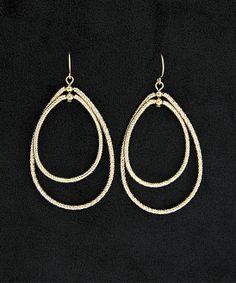 Gold Diamond-Cut Duo Drop Earrings