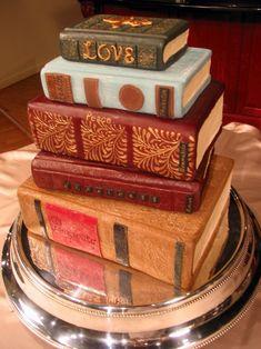 Antique stack of books cake