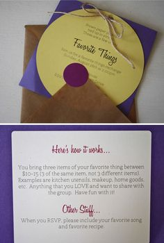 Favorite Things Party invitation idea