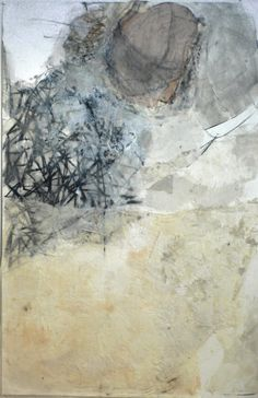 """untitled wax I 2000 beeswax, gauze, charcoal on paper 60x40"""""""