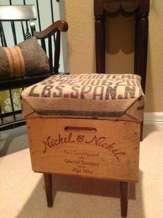 Wine Box Ottoman Storage Bench  Serving Tray by BeneathTheBodhi
