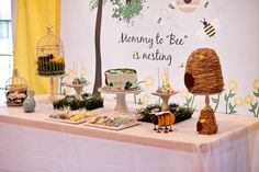 Adorable bumble bee baby shower! Great cake and desserts! See more party ideas at CatchMyParty.com!