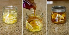 "Winter sore throat ""tea""- In a jar combine lemon slices, organic honey and sliced ginger. Close jar and put it in the fridge, it will form into a ""jelly"". To serve- spoon jelly into mug and pour boiling water over it. Store in fridge 2-3 months.Gonna do this~"