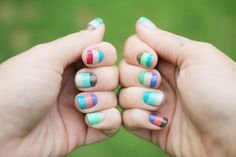 multi-color stripe nails