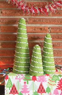 Christmas Tree Trio Digital Crochet Pattern from Love of Crochet magazine's Holiday Crochet 2014 Issue - Three beaded trees to decorate your mantel