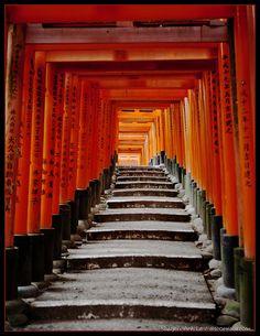 Steps at Fushimi Inari Shrine, Kyoto, Japan
