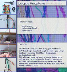 DIY Wrapped Headphones  cute colorful fun headphones diy crafts easy crafts easy wrapped headphones