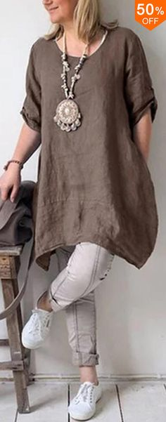 50% off&Free shipping. Women Pure Color Cotton Linen Half Sleeve Shirt Dress
