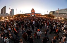 Giants fans watch Game 7 of baseball's World Series against the Kansas City Royals at Civic Center Park in San Francisco, Calif., on Wednesday, Oct. 29, 2014. (Doug Duran/Bay Area News Group)