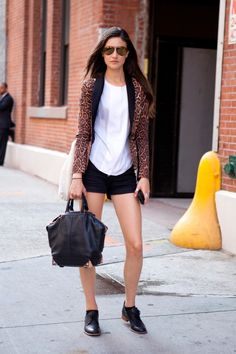 leopard blazer + plain white tee + menswear-inspired oxfords