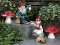 New surprises for the garden!  Gned Solar Lantern Gnome, Gnadia Solar Lantern Gnome Votive Holder and Mushroom Tealight Holder Available April 1.