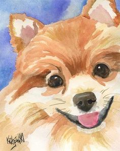 Favorite  Like this item?    Add it to your favorites to revisit it later.  Pomeranian Art Print of Original Watercolor Painting - 8x10 Dog Art