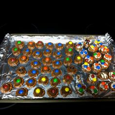 LooneyLizy: Yes, I made these incredibly easy rolo/hugs pretzel desserts. Delicious! This was for a good friends wedding shower!