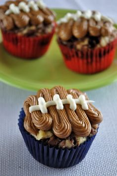 Nutella-Swirl Football Cupcakes with Nutella Buttercream