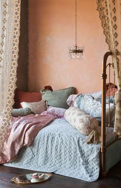 a great combination of trends -- pastels, bohemian and wall texture (venetian plaster finish)