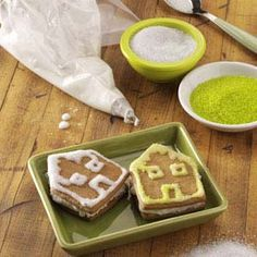 Gingerbread House Sandwich Cookies Recipe from Taste of Home -- These cute gingerbread houses are a fun activity to do with your children or grandkids. —Lisa Speer, Palm Beach, Florida