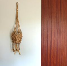 Vintage french macrame hanging planter