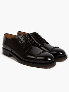 Valentino Men's Polished Leather Studded Oxford Shoes