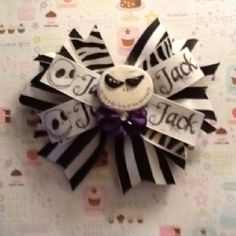 Jack huge bow with polymer clay middle made by me!!