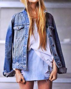 Pair a denim skirt with a denim jacket for a chic denim-on-denim look. //#Fashion