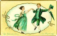 Antique Postcard Dancing on Saint Patrick's Day