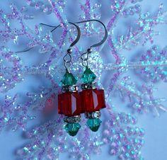 Swarovsk Crystal Christmas Earrings by SewSimpleJewels on Etsy, $22.00