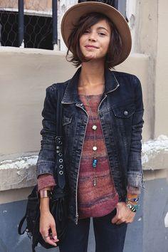 Denim jacket and hat