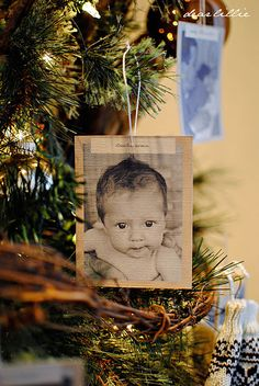 rustic vintage: print photos on textured carstock for ornaments / gift toppers