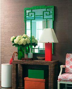 Green Greek key mirror
