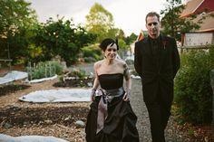 Black wedding dress with a grey sash