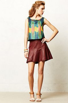 Vegan Leather Skater Skirt #anthropologie