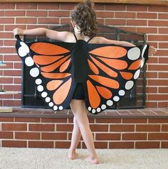 Homemade monarch butterfly costume