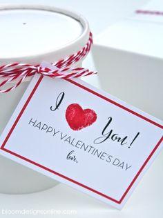 Fingerprint Valentine Cards - Free prints on { lilluna.com } #valentines