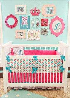 paint the would-be nursery that beautiful aqua (almost tiffany blue) and then if it's a boy you add tones of green and navy, if it's a girl you do it up in hot pink like the picture... TOO CUTE!