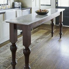 Narrow island for small kitchen - legs & lace fretwork for island table