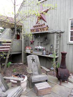 ladder, birdhous, chair, garden patios, flea