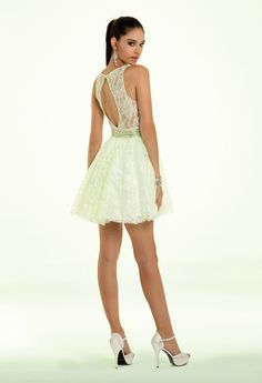 Camille La Vie Lace Short Prom Dress with Open Back Detail