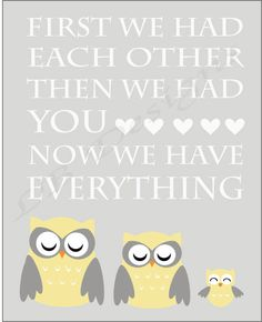 Gray and Yellow Owl Nursery Quote Print - 8x10. $8.00, via Etsy.