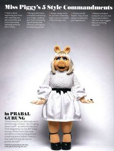 Lovely Miss Piggy Quotes in the November 2011 issue of InStyle