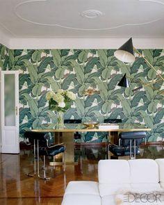 Brian Atwood Nate Berkus Home   Palm print wallpaper