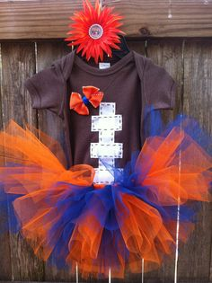 Football baby onesie and tutu With matching hair bow in sizes: newborn, 0-3mo, 3-6mo, 6-12mo, 12-18mo(t-shirt),or 18-24mo